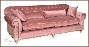 Sofa chesterfield różowa  Belldeco Bristol